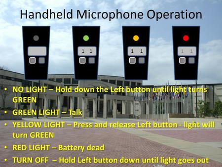 Handheld Microphone Operation NO LIGHT – Hold down the Left button until light turns GREEN NO LIGHT – Hold down the Left button until light turns GREEN.