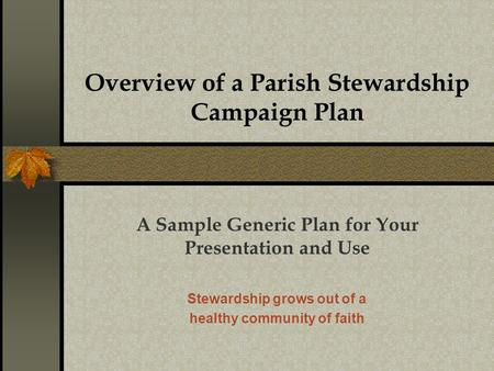 Overview of a Parish Stewardship Campaign Plan A Sample Generic Plan for Your Presentation and Use Stewardship grows out of a healthy community of faith.