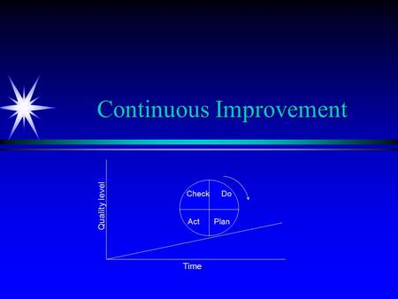 Continuous Improvement Check Do Act Plan Time Quality level.