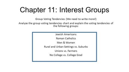 Chapter 11: Interest Groups Group Voting Tendencies (We need to write more!) Analyze the group voting tendencies chart and explain the voting tendencies.