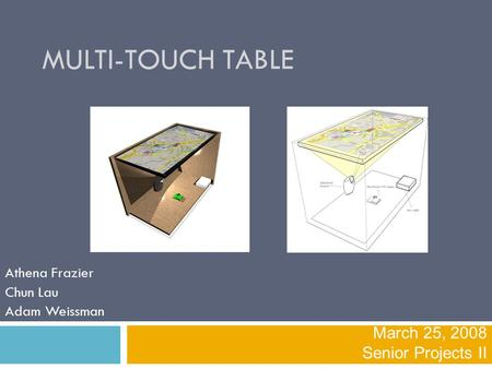 MULTI-TOUCH TABLE Athena Frazier Chun Lau Adam Weissman March 25, 2008 Senior Projects II.