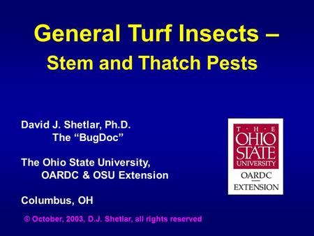"General Turf Insects – Stem and Thatch Pests David J. Shetlar, Ph.D. The ""BugDoc"" The Ohio State University, OARDC & OSU Extension Columbus, OH © October,"