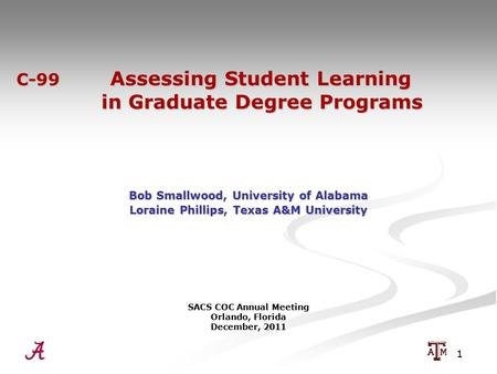 1 C-99 Assessing Student Learning in Graduate Degree Programs C-99 Assessing Student Learning in Graduate Degree Programs Bob Smallwood, University of.