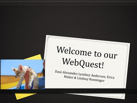 Welcome to our WebQuest! Dani Alexander, Lyndsey Anderson, Erica Maher & Lindsay Runninger.