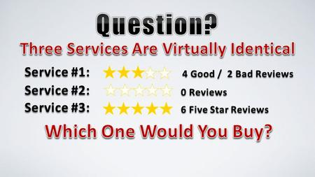 Service #1: 4 Good / 2 Bad Reviews 6 Five Star Reviews Service #2: 0 Reviews Service #3: