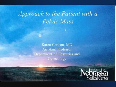 Approach to the Patient with a Pelvic Mass Karen Carlson, MD Assistant Professor Department of Obstetrics and Gynecology.