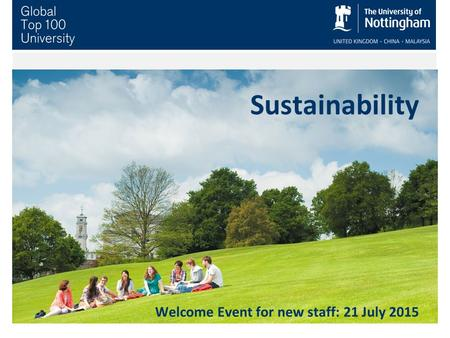 Sustainability Welcome Event for new staff: 21 July 2015.