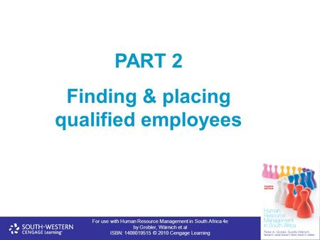 For use with Human Resource Management in South Africa 4e by Grobler, Wärnich et al ISBN: 1408019515 © 2010 Cengage Learning PART 2 Finding & placing qualified.