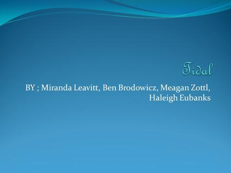 BY ; Miranda Leavitt, Ben Brodowicz, Meagan Zottl, Haleigh Eubanks.