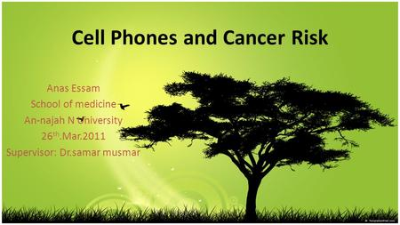 Cell Phones and Cancer Risk Anas Essam School of medicine An-najah N University 26 th.Mar.2011 Supervisor: Dr.samar musmar.