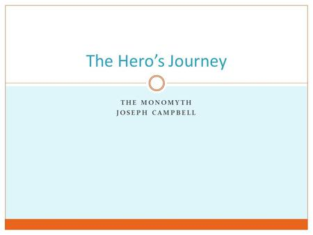 THE MONOMYTH JOSEPH CAMPBELL The Hero's Journey. Source Material The Hero with a Thousand Faces by Joseph Campbell Notes on The Hero's Adventure from.