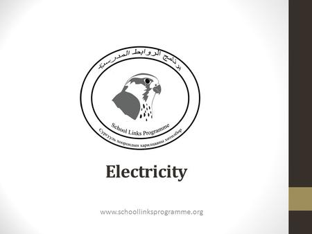 Electricity www.schoollinksprogramme.org. Electricity is energy We use energy to heat and cool our homes. for lights and appliances. run cars, planes,