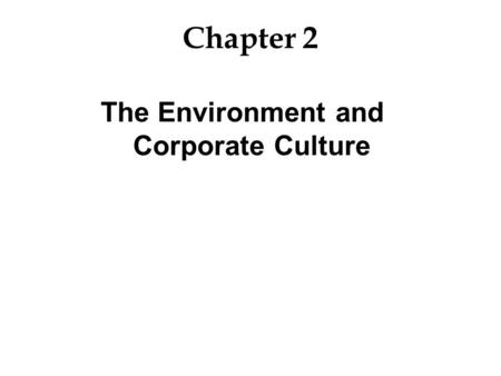 The Environment and Corporate Culture