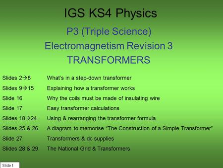 IGS KS4 Physics P3 (Triple Science) Electromagnetism Revision 3 TRANSFORMERS Slide 1 Slides 2  8What's in a step-down transformer Slides 9  15Explaining.
