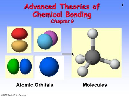1 © 2009 Brooks/Cole - Cengage Advanced Theories of Chemical Bonding Chapter 9 Atomic Orbitals Molecules.