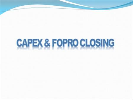 Closing of cApex10 & Fopro10 NOTE: Trial balance should be tallied before closing.  Step1: Check free Disk space on Drive where Oracle is Installed.