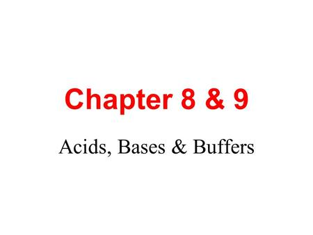 Chapter 8 & 9 Acids, Bases & Buffers. Chapter 8 Introducing Acids & Bases Water pH (Acid rain) in the USA in 2001.