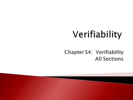 Chapter S4: Verifiability All Sections. Security Today's Topic Information Quality IS Basics E-commerce AccessExcel PowerPoint Types of IS Systems Development.