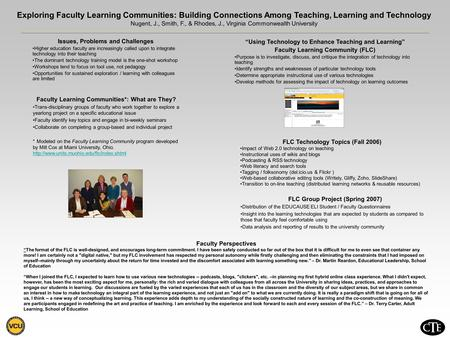 Exploring Faculty Learning Communities: Building Connections Among Teaching, Learning and Technology Nugent, J., Smith, F., & Rhodes, J., Virginia Commonwealth.