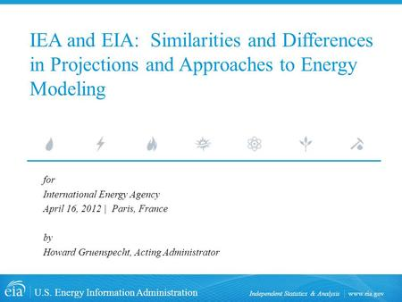 Www.eia.gov U.S. Energy Information Administration Independent Statistics & Analysis IEA and EIA: Similarities and Differences in Projections and Approaches.