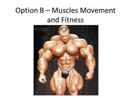 Option B – Muscles Movement and Fitness. B1 - Muscles and movement B.1.1 State the roles of bones, ligaments, muscles, tendons and nerves in human movement.