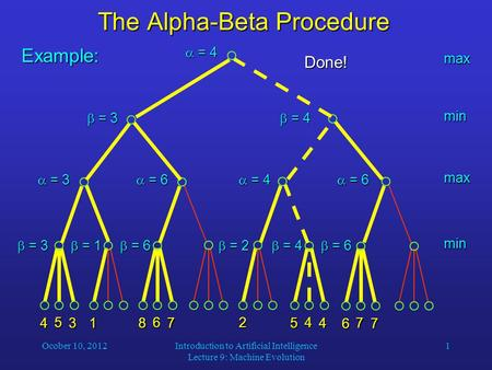 Ocober 10, 2012Introduction to Artificial Intelligence Lecture 9: Machine Evolution 1 The Alpha-Beta Procedure 4 5 31 8 6 7 2 5 4 4 6 7 7 Example: max.