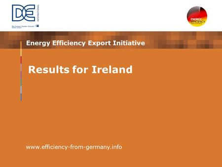Energy Efficiency Export Initiative www.efficiency-from-germany.info Results for Ireland.