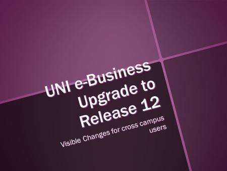 UNI e-Business Upgrade to Release 12 Visible Changes for cross campus users.