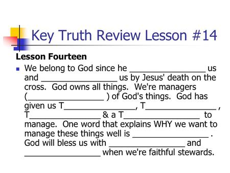 Key Truth Review Lesson #14