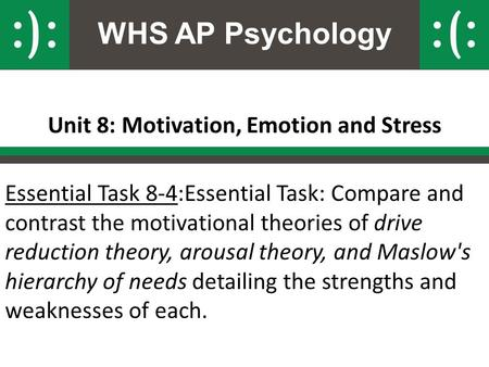 WHS AP Psychology Unit 8: Motivation, Emotion and Stress Essential Task 8-4:Essential Task: Compare and contrast the motivational theories of drive reduction.