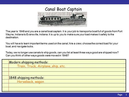 Page1 Canal Boat Captain The year is 1848 and you are a canal boat captain. It is your job to transport a boat full of goods from Fort Wayne, Indiana to.