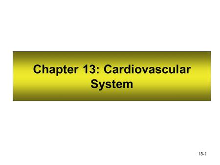 13-1 Chapter 13: Cardiovascular System. 13-2 The Blood Vessels The cardiovascular system has three types of blood vessels: Arteries (and arterioles) –