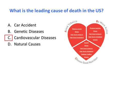 What is the leading cause of death in the US? A.Car Accident B.Genetic Diseases C.Cardiovascular Diseases D.Natural Causes.