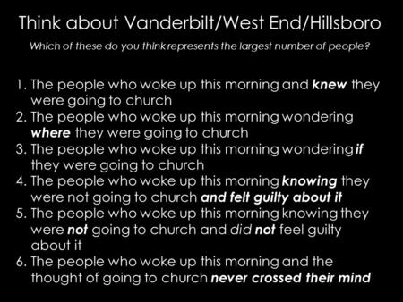 Think about Vanderbilt/West End/Hillsboro Which of these do you think represents the largest number of people? 1.The people who woke up this morning and.