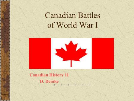 Canadian Battles of World War I