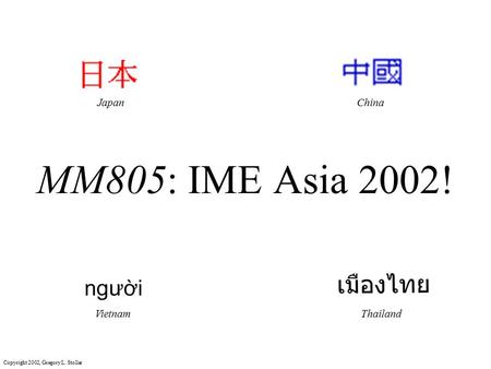 Copyright 2002, Gregory L. Stoller MM805: IME Asia 2002! JapanChina VietnamThailand.