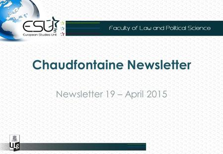 Chaudfontaine Newsletter Newsletter 19 – April 2015.
