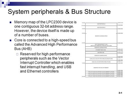 3-1 System peripherals & Bus Structure Memory map of the LPC2300 device is one contiguous 32-bit address range. However, the device itself is made up of.