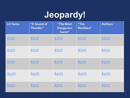 "Jeopardy! Lit Terms""A Sound of Thunder"" ""The Most Dangerous Game"" ""The Necklace"" Authors $100 $200 $300 $400 $500 ?"