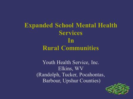 Expanded School Mental Health Services In Rural Communities Youth Health Service, Inc. Elkins, WV (Randolph, Tucker, Pocahontas, Barbour, Upshur Counties)