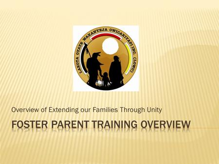 FOSTER PARENT TRAINING OVERVIEW