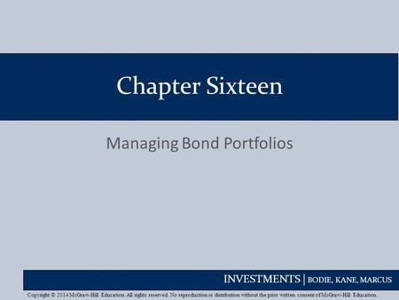 Managing Bond Portfolios