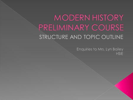 Modern History is designed to enable students to acquire:  Knowledge and understanding  the skills associated with historical enquiry  the skills to.
