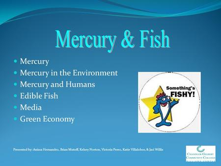 Mercury & Fish Mercury Mercury in the Environment Mercury and Humans