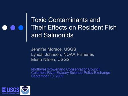 Toxic Contaminants and Their Effects on Resident Fish and Salmonids Jennifer Morace, USGS Lyndal Johnson, NOAA Fisheries Elena Nilsen, USGS Northwest Power.