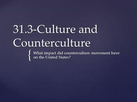 31.3-Culture and Counterculture