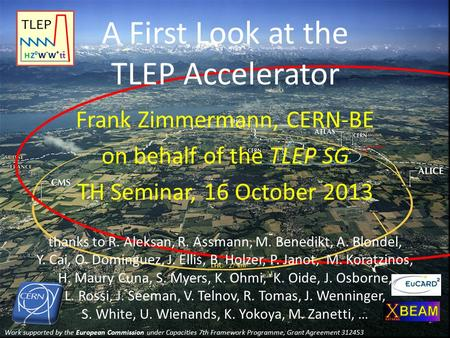 Work supported by the European Commission under Capacities 7th Framework Programme, Grant Agreement 312453 A First Look at the TLEP Accelerator Frank Zimmermann,