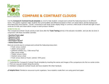 Use the Compare & Contrast Clouds template as a tool to help students compare and contrast the featured produce in its different forms. This graphic organizer.