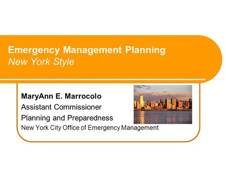 MaryAnn E. Marrocolo Assistant Commissioner Planning and Preparedness New York City Office of Emergency Management Emergency Management Planning New York.