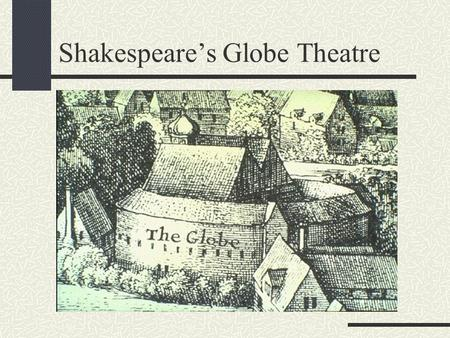 Shakespeare's Globe Theatre Why was the Globe built? The Lord Chamberlain's Men (Shakespeare's acting troupe) needed a place to perform their plays so.